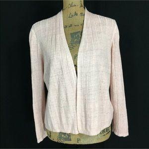 Tahari Large Linen Cardigan Sweater Blush Pink